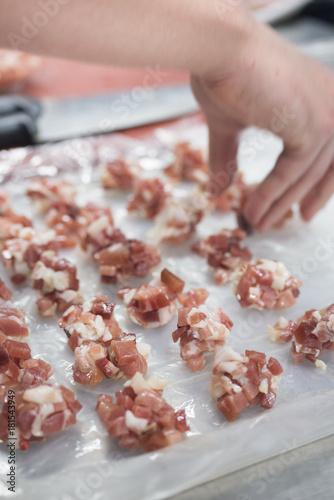 Sticker food in preparation