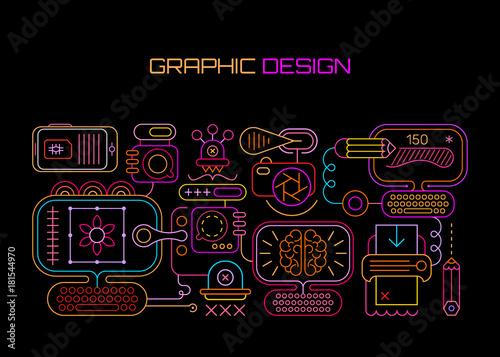 Fotobehang Abstractie Art Graphic Design neon