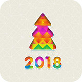 2018 year and Christmas tree in a mosaic style cut paper. Colorful. Eps10.