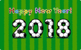 2018 Happy New Year from Football (soccer) Vector letters and numbers.