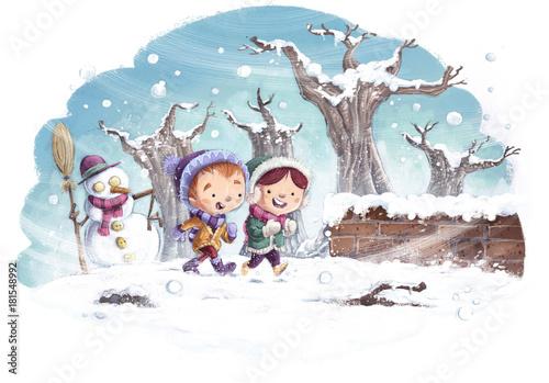 Tuinposter Wit niños con muñeco de nieve