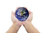 man holding globe on her hands. Elements of this image furnished by NASA