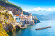 Quadro Morning view of Amalfi cityscape on coast line of mediterranean sea, Italy