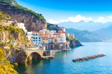 Morning view of Amalfi cityscape on coast line of mediterranean sea, Italy © Aleh Varanishcha