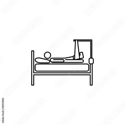 with a broken leg in bed line icon. Insurance outline icon | Buy ...