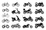 Fototapety Collection of Motorcycles and bicycles icons.  Moto vehicles symbols vector stock illustration.