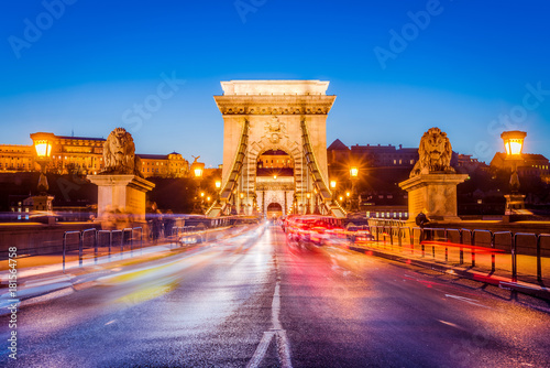 Foto op Canvas Boedapest The Szechenyi Chain Bridge in Budapest, Hungary.