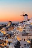 Santorini skyline sunset windmill - 181572752