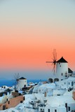 Santorini skyline sunset windmill - 181572756