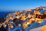 Santorini skyline night - 181573564