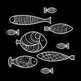 Set of cute sea fish. Vector illustration