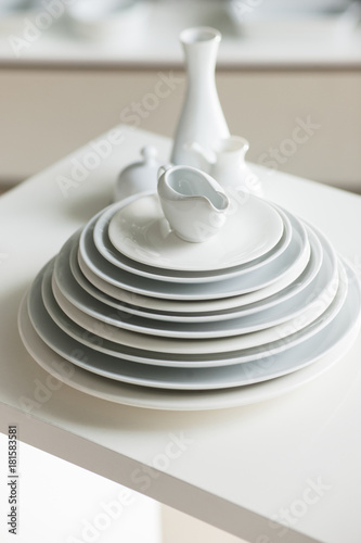 White table setting at restaurant. Stylish crockery set. Simple and beautiful concept