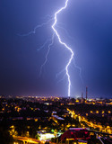 Summer thunderstorm in the city - 181591334