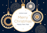 Christmas greeting banner or card. Golden Christmas balls on a dark blue background. New Year's design template with a window for text. Vector flat. Horizontal format - 181592179