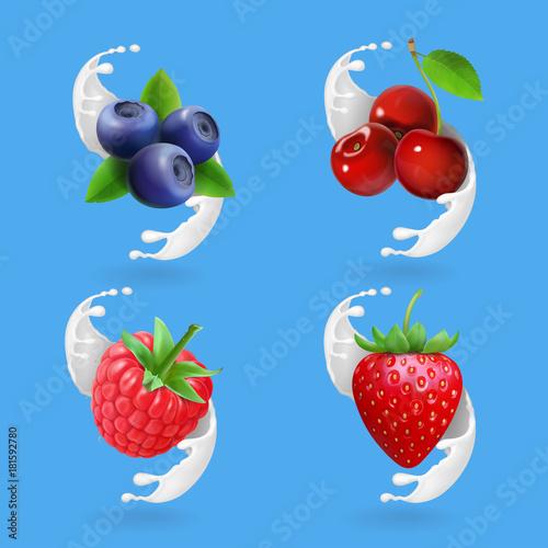 Berries and yogurt. Cherry, blueberry, strawberry and raspberry ain milk splash Realistic illustration