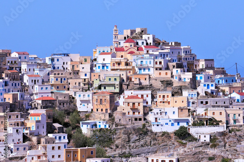 Foto op Plexiglas Purper Olympos town close up in karpathos