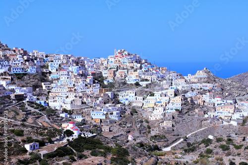 Staande foto Lavendel Olympos town in karpathos