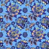 seamless floral ornament on a blue background  - 181598548