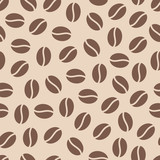 Coffee beans seamless pattern, vector background. Repeated light brown texture for cafe menu, shop wrapping paper.
