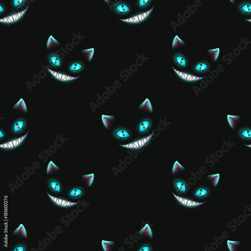 Seamless pattern with disappearing cat faces