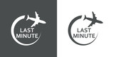 Icono plano LAST MINUTE avion girando gris y blanco