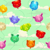 Seamless pattern with colorful animal shaped balloons.