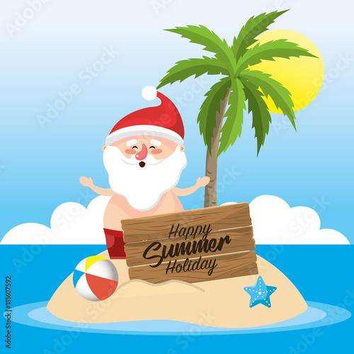 santa claus in the summer holiday vacation