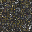 Cute hand drawn seamless Christmas pattern. Vector background with New Year and Christmas elements