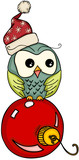 Christmas owl on red ball