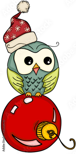 Deurstickers Uilen cartoon Christmas owl on red ball