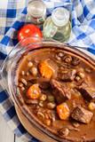 Beef Bourguignon stew in a casserole dish - 181609576