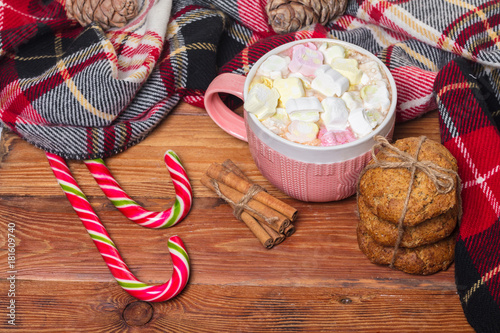 Foto op Canvas Chocolade Holiday cup of cocoa with marshmallow