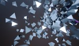 3D Rendering Of Abstract Flying Chaotic Metal Pyramids Background