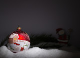 hand painted christmas ball in the snow - 181610753