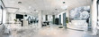 Panoramic view of a modern bright beauty salon. Hair salon and pedicure interior business