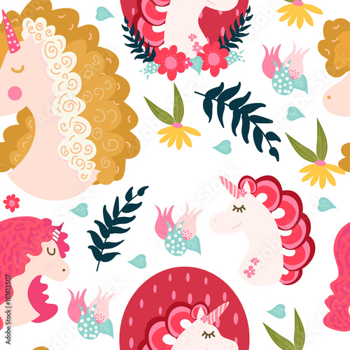 Cute Unicorns Pattern - 181613507