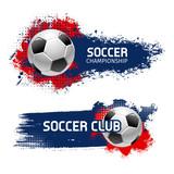 Soccer ball banner set, football sport game design