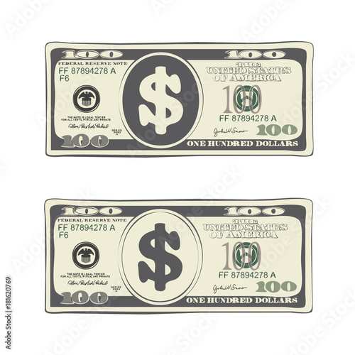 100 dollars in flat cartoon style. Vector design of one hundred dollar bill. Suitable for discount cards, leaflet, coupon, flyer, vouchers and other advertising. Simulate hand-drawn illustration.
