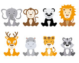 Set of cute animals isolated on white background - 181621134