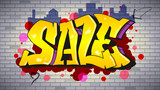Sale, lettering in hip-hop, graffiti style. Urban ad horizontal poster. Street art on the brick wall. Advertising about discounts. Stylish design of banner with your offer. 3D illustration. - 181621306