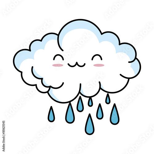 cute cloud rainy kawaii character vector illustration design - 181621545