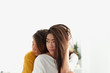 Asian lesbian LGBT Couple warm hug on bed in bedroom with happiness moment,love win concept ,beautiful attractive