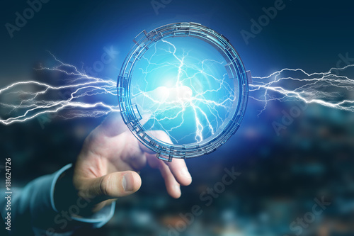 Fotobehang UFO Thunder lighting bolt in a science fiction wheel interface - 3d rendering
