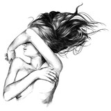 the girl lies naked passion erotic sketch vector graphics monochrome black-and-white drawing
