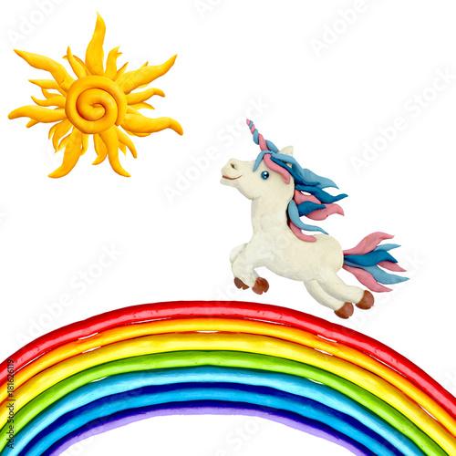 Plasticine sculpture Unicorn running on rainbow
