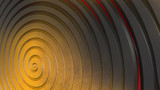 Yellow, black, red 3d spiral. Abstract background