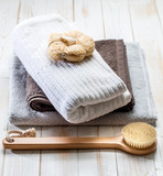 simply healthy dry brushing and sustainable body care concept - 181627323