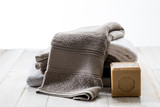 zen beautiful towels with sustainable solid Marseilles olive oil soap