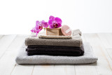 Refreshing female shower concept with textured towels and solid soap - 181627392