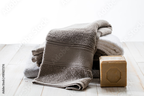 Foto op Canvas Zen zen beautiful towels with sustainable solid Marseilles olive oil soap
